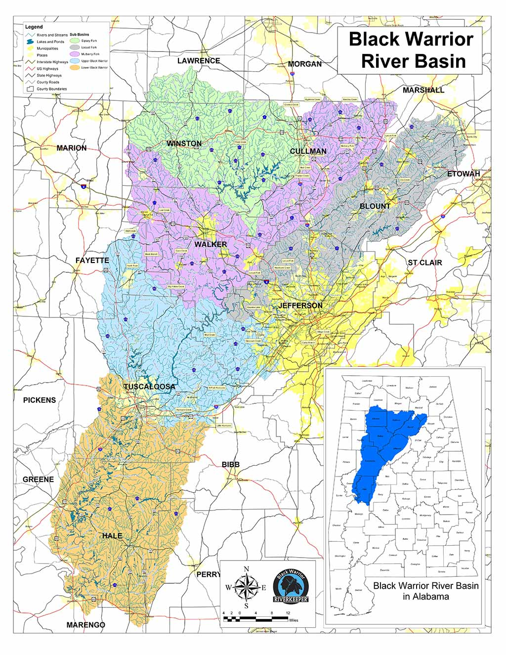 Map of the Black Warrior River watershed | Black Warrior Riverkeeper