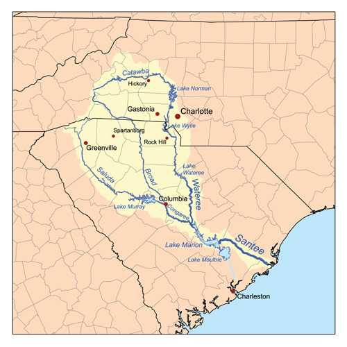 Map of the Santee River watershed, including the Catawba River | Wikimedia Commons