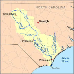 Map of the Cape Fear drainage basin showing Haw River | Wikimedia Commons