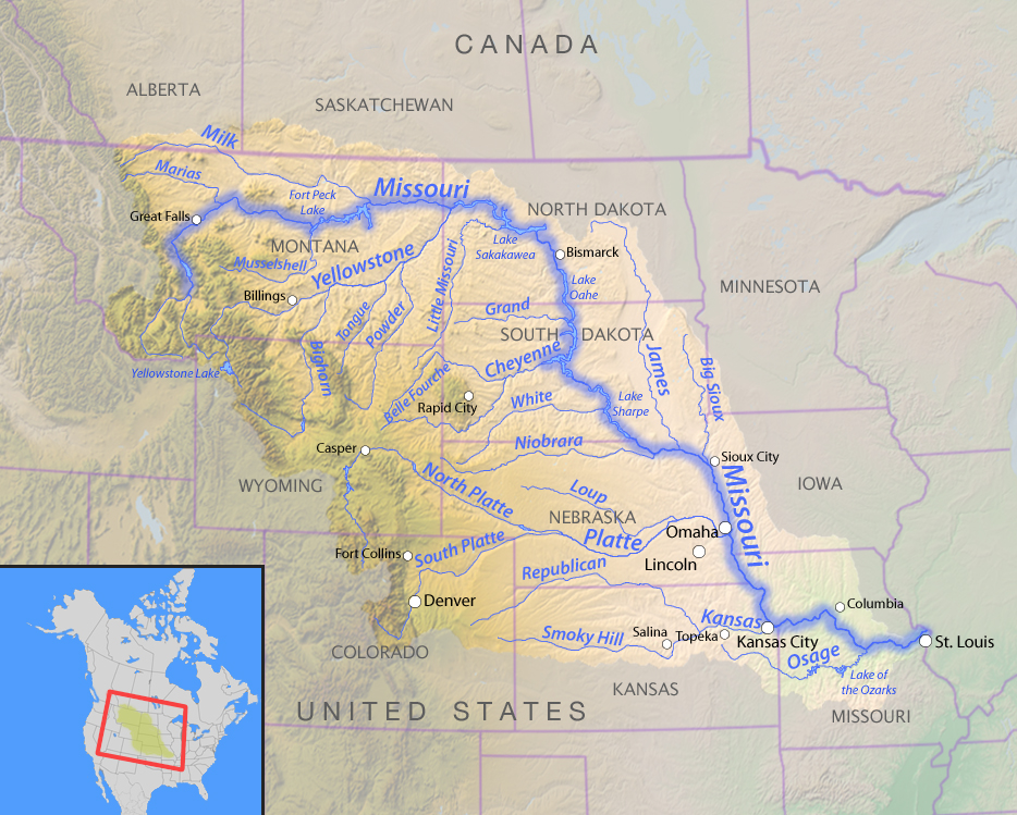Map of the Missouri River and its tributaries inNorth America | Wikimedia Commons