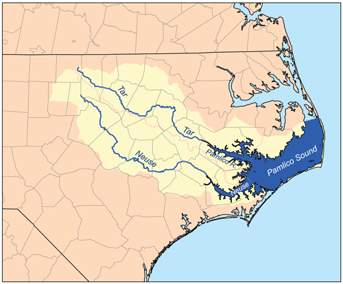 Map showing the Neuse and Tar River watersheds | Wikimedia