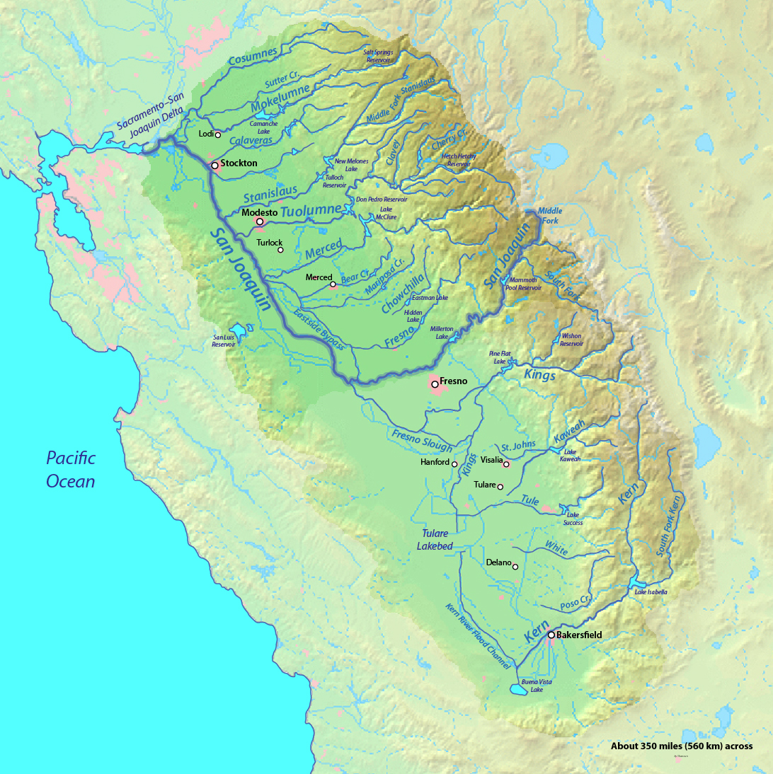 San Joaquin River watershed, including the Tulare Basin