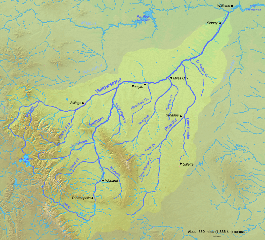Yellowstone River Us Map Yellowstone River   American Rivers