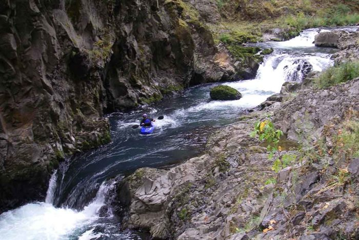Steelhead Falls at the entrance to the Narrows on the White Salmon River below Condit Dam   Thomas O'Keefe.