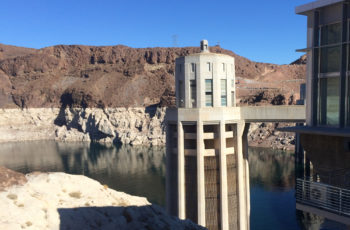 Structural pillar at Hoover Dam with Lake Mead's ominous 'bathtub ring' in the background   Sinjin Eberle