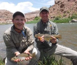 Steve White fishing on the Gunnison River with his son, Luke. | Steve White