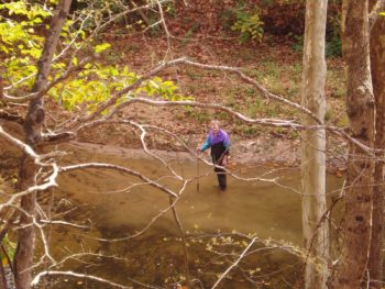 Vivian Owens moving the Russell Fork River. | Gary Buffington
