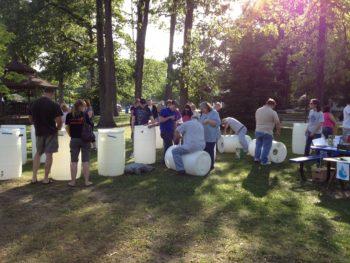 """A """"make and take"""" rain barrel workshop in Toledo, Ohio with the Toledo – Lucas County Rain Garden Initiative.   Katie Rousseau"""