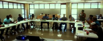 Local community leaders attend a lecture on green infrastructure possibilities in their neighborhoods. | Jeremy Diner