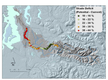 Much of the Green River is bordered by parking lots and asphalt trails. This figure shows the effective shade deficit by 1,000 m increments. The deficit is the difference between the mature riparian shade condition (i.e., lots of trees) and the current riparian shade condition (i.e., lots of roads and buildings).   Washington Department of Ecology