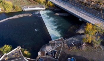 The Nelson Dam is an 8-foot-high diversion dam that sits just upstream of the city of Yakima on the Naches River in Washington.   Justin Clifton