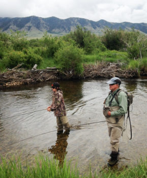 The author plying the waters of the Little Laramie with his grandfather, Gary Butts.