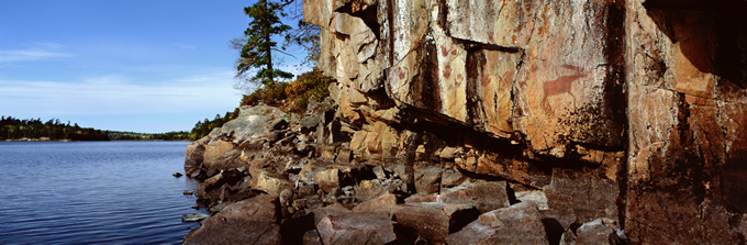 La Croix pictographs on a cliff along the Boundary Waters. | Jim Bradenburg