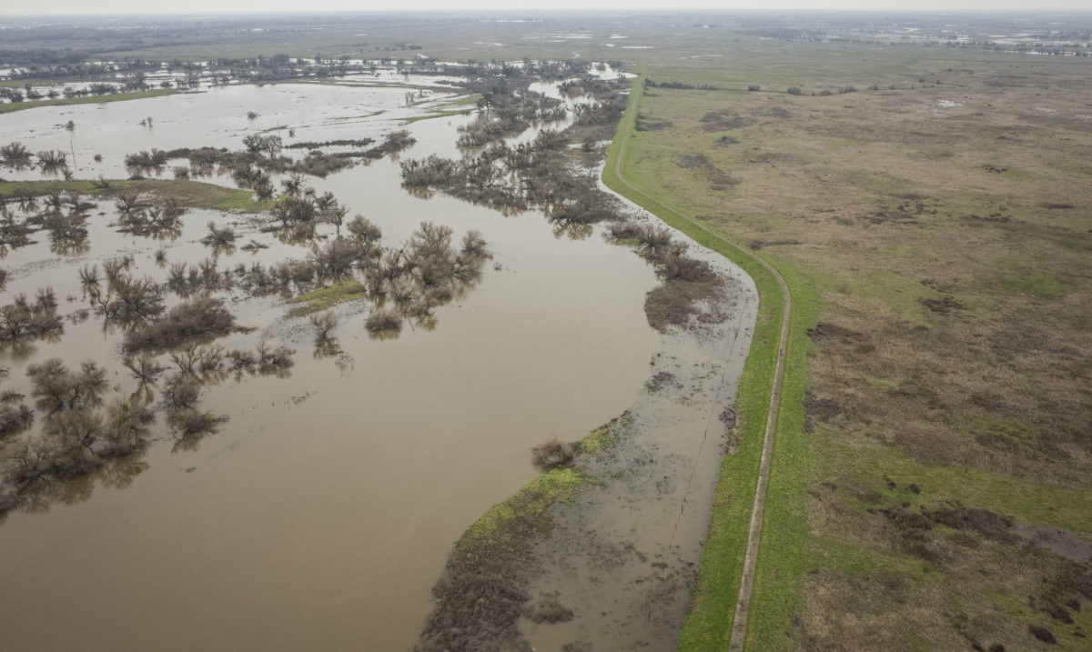Aerial drone images capture flooding dynamics along the San Joaquin River. | Daniel Nylen