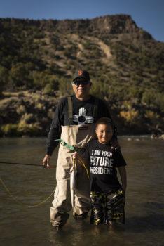 Louie Hena and his grandson fishing on the Rio Grande. | Dana Romanoff
