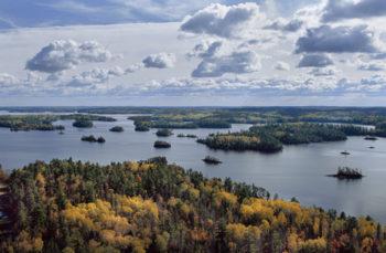Aerial view of the Boundary Waters Canoe Area Wilderness, Northwoods, Minnesota.   Jim Brandenburg