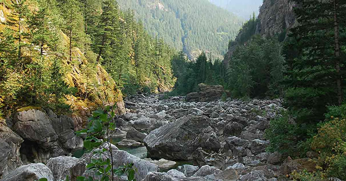 """Skagit River, WA, after it was """"dewatered"""" by poor river flow management at the dam.   Rich Bowers"""