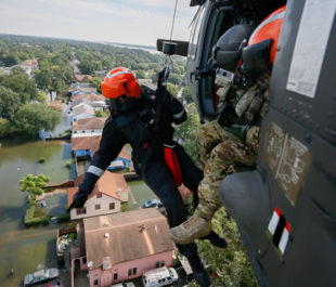 Members of the South Carolina National Guard assist in rescue missions in Port Arthur, Texas after Hurricane Harvey.   Photo: Staff Sgt. Daniel J. Martinez