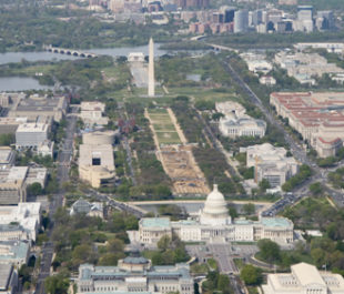 The United States Capitol and National Mall and Monuments can be seen with the Potomac River in the background. | NASA