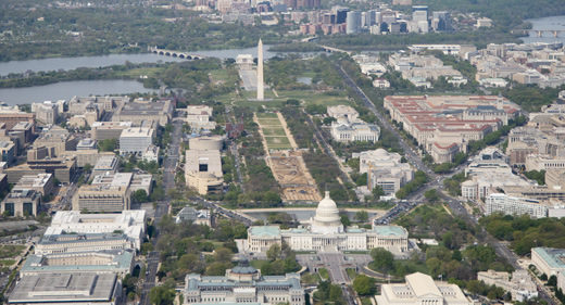 The United States Capitol and National Mall and Monuments can be seen with the Potomac River in the background.   NASA
