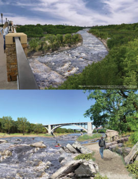 Mississippi Gorge restoration renderings from Lake Street (top) and Franklin Street (bottom).