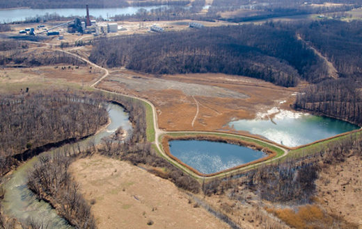 Three coal ash pits sit adjacent to the Middle Fork of the Vermilion River, IL. | Jeff Lucas, Gutting the Heartland