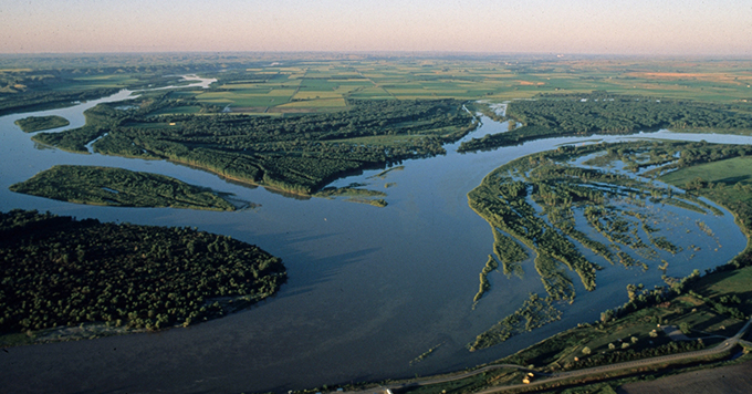 Confluence of the Missouri and Yellowstone rivers.   Larry Mayer