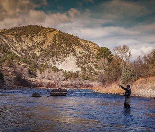 Man fishing on the Animas River.   Sinjin Eberle