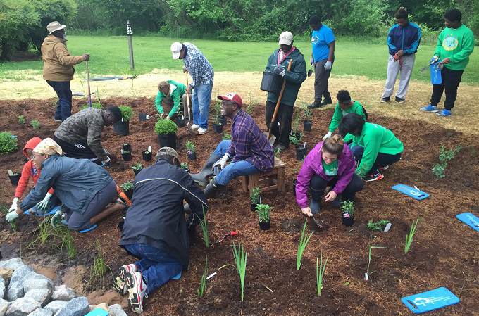 Community coming together to help at the Walnut Creek Rain Garden. | Peter Raabe
