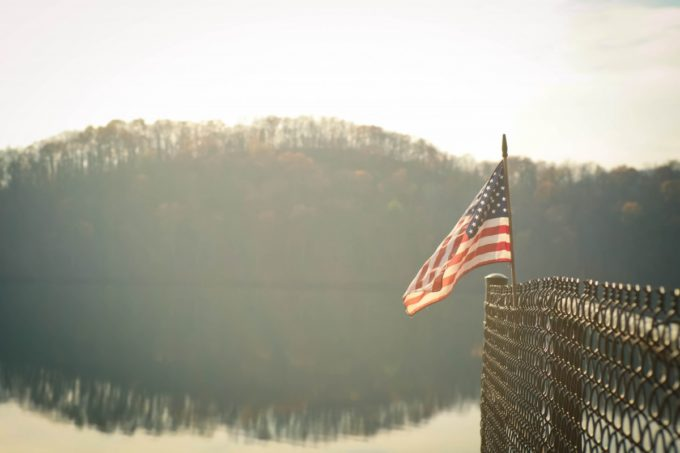 American Flag on the River