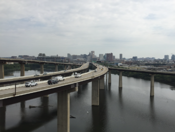 The ramp to Interstate 95 over the Middle Branch Patapsco River | Photo by Famartin