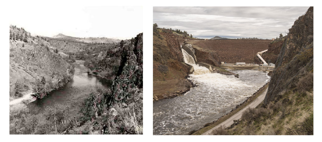 Iron Gate Dam then and now on the Klamath River | Photo by Daniel Nylen