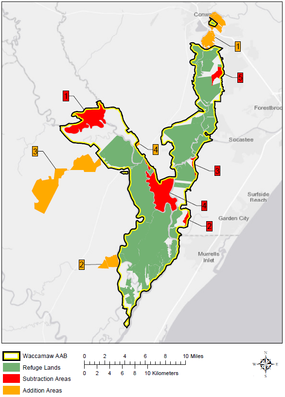 Map of Waccamaw National Wildlife Refuge with minor boundary modiciations | by USFWS/WNWRs