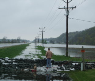 Levee Break in Winfield, MO along the Mississippi River | Photo by Nancy Guyton