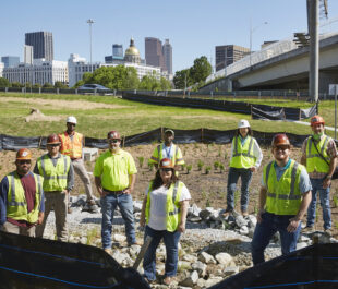 GDOT Construction of Green Stormwater Infrastructure Retrofit in Intrenchment Creek Headwaters | Photo by The Sintoses
