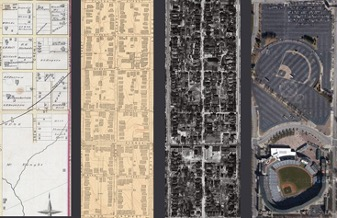 The historical neighborhoods in the footprint of Turner Field: 1878, 1928, 1949, and 2014   Photo by Turner Field Community Benefits Coalition