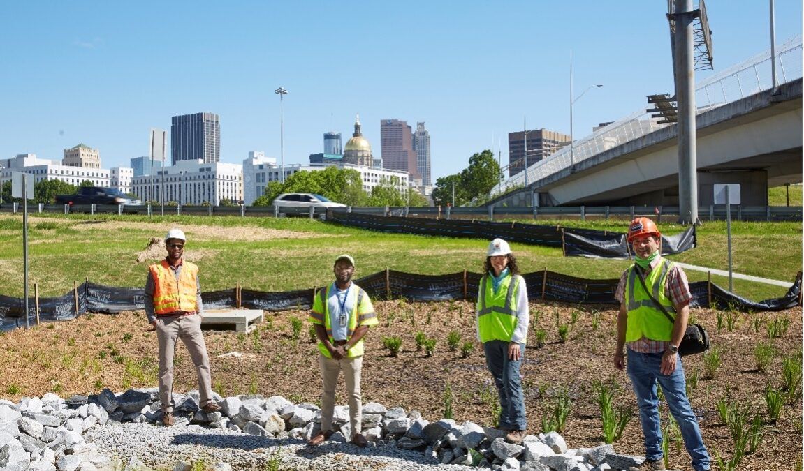 GDOT's construction of new green stormwater infrastructure retrofit in the interstate interchange at the heart of downtown Atlanta   Photo by The Sintoses
