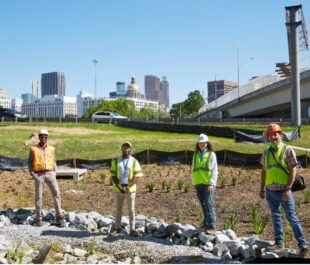 GDOT's construction of new green stormwater infrastructure retrofit in the interstate interchange at the heart of downtown Atlanta | Photo by The Sintoses